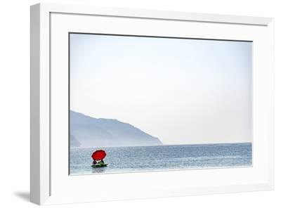 Europe, Italy, Liguria. a Pedalo in Monterosso, Cinque Terre.-Catherina Unger-Framed Photographic Print