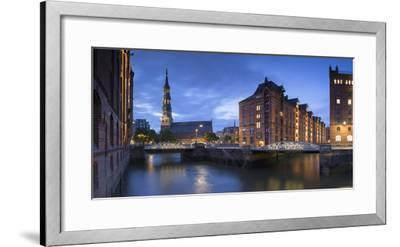 St Katharinen Church and warehouses of Speicherstadt (UNESCO World Heritage Site), Hamburg, Germany-Ian Trower-Framed Photographic Print