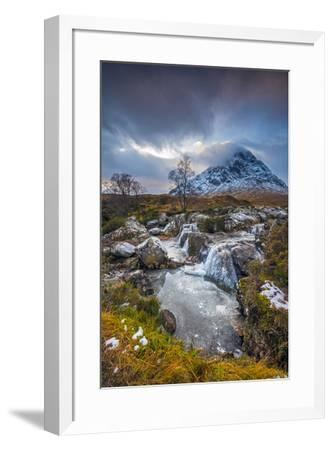 UK, Scotland, Highland, Glen Coe, River Coupall, Coupall Falls and Buachaille Etive Mor-Alan Copson-Framed Photographic Print