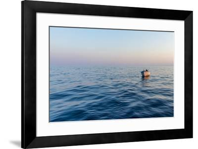 Europe, Italy, Cinque Terre. Boat in front of Vernazza.-Catherina Unger-Framed Photographic Print