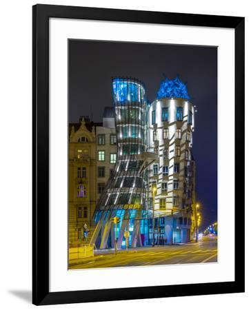 Czech Republic, Prague, Nove Mesto (New Town). Dancing House, Tancici dum, at night. Designed by Vl-Jason Langley-Framed Photographic Print
