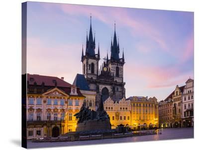 Czech Republic, Prague, Stare Mesto (Old Town). Tyn Cathedral on Staromestske namesti, Old Town Squ-Jason Langley-Stretched Canvas Print