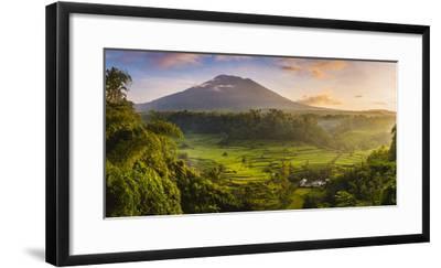 Sidemen valley, Rendang, Karangasem Regency, Bali, Indonesia. Paddy fields with Gunung Agung (Mt Ag-Marco Bottigelli-Framed Photographic Print