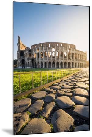 Rome, Lazio, Italy. Colosseum and Via Sacra (Sacred Road) at sunrise.-Marco Bottigelli-Mounted Photographic Print