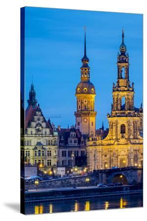 Germany, Saxony, Dresden, Altstadt (Old Town). Dresden skyline, historic buildings along the Elbe R-Jason Langley-Stretched Canvas Print