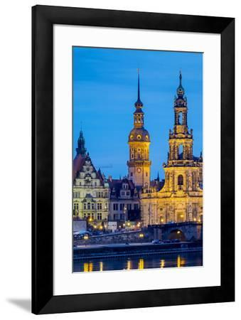 Germany, Saxony, Dresden, Altstadt (Old Town). Dresden skyline, historic buildings along the Elbe R-Jason Langley-Framed Photographic Print