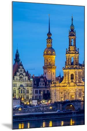 Germany, Saxony, Dresden, Altstadt (Old Town). Dresden skyline, historic buildings along the Elbe R-Jason Langley-Mounted Photographic Print