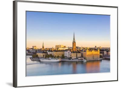 Stockholm, Sweden, Northern Europe. High angle view over Riddarholmen and Riddarholmskyrkan (church-Marco Bottigelli-Framed Photographic Print