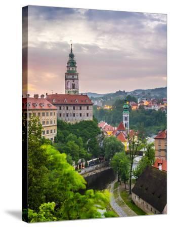 Czech Republic, South Bohemian Region, Cesky Krumlov. Cesky Krumlov Castle and buildings in old tow-Jason Langley-Stretched Canvas Print