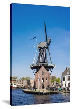 Netherlands, North Holland, Haarlem. Windmill De Adriaan on the Spaarne River.-Jason Langley-Stretched Canvas Print