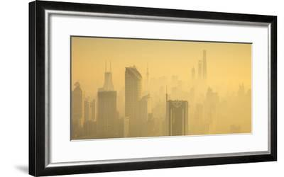 Skyline of Shanghai from Jing'An on a foggy November morning, China-Jon Arnold-Framed Photographic Print