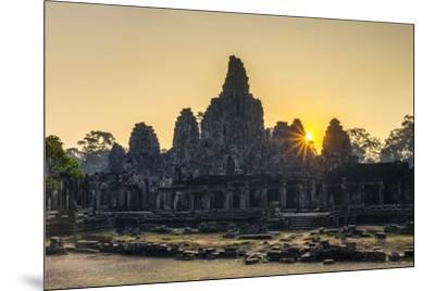 Prasat Bayon temple ruins at sunrise, Angkor Thom, UNESCO World Heritage Site, Siem Reap Province, -Jason Langley-Mounted Photographic Print