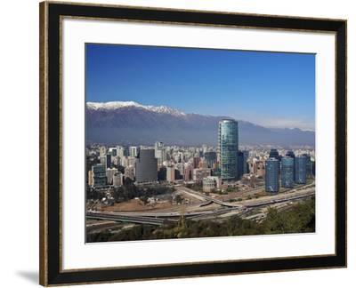 Chile, Santiago, View from the Parque Metropolitano towards the high raised buildings in financial -Karol Kozlowski-Framed Photographic Print
