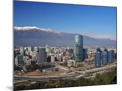 Chile, Santiago, View from the Parque Metropolitano towards the high raised buildings in financial -Karol Kozlowski-Mounted Photographic Print