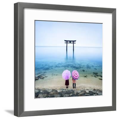 Japanese Torii Gate, Lake Biwa, Takashima, Shiga Prefecture, Japan-Jan Christopher Becke-Framed Photographic Print