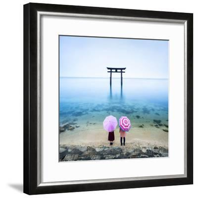 Japanese Torii Gate, Lake Biwa, Takashima, Shiga Prefecture, Japan-Jan Christopher Becke-Framed Premium Photographic Print