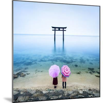 Japanese Torii Gate, Lake Biwa, Takashima, Shiga Prefecture, Japan-Jan Christopher Becke-Mounted Premium Photographic Print