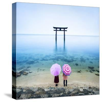 Japanese Torii Gate, Lake Biwa, Takashima, Shiga Prefecture, Japan-Jan Christopher Becke-Stretched Canvas Print