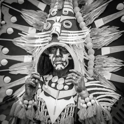 Portrait of Ati-atihan festival participant, Kalibo, Aklan, Western Visayas, Philippines-Jason Langley-Framed Photographic Print