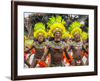 Men in traditional dress at Dinagyang Festival, Iloilo City, Western Visayas, Philippines-Jason Langley-Framed Photographic Print
