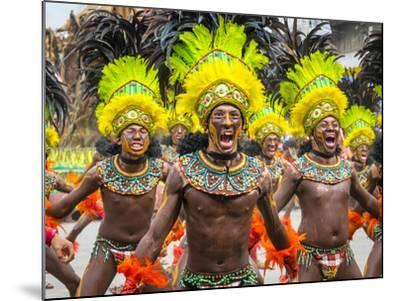 Men in traditional dress at Dinagyang Festival, Iloilo City, Western Visayas, Philippines-Jason Langley-Mounted Photographic Print