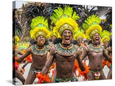 Men in traditional dress at Dinagyang Festival, Iloilo City, Western Visayas, Philippines-Jason Langley-Stretched Canvas Print