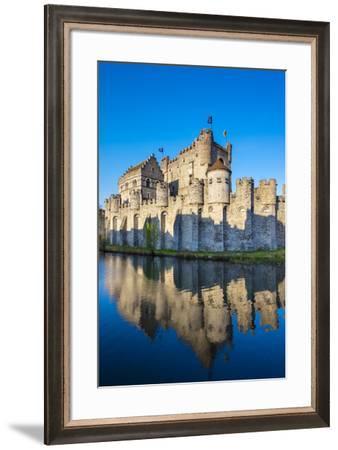 Belgium, Flanders, Ghent (Gent). Gravensteen castle, 12th century medieval castle on the Leie River-Jason Langley-Framed Photographic Print