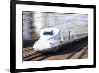 Shinkansen bullet train, Kyoto station, Kyoto prefecture, Japan-Jan Christopher Becke-Framed Photographic Print