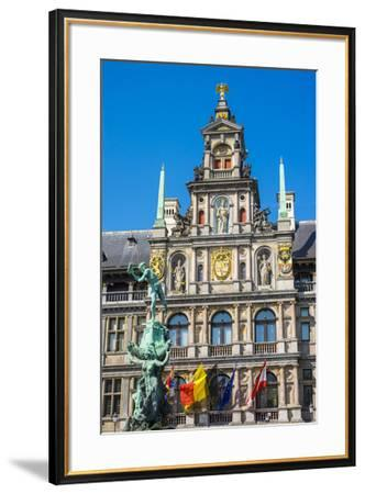 Belgium, Flanders, Antwerp (Antwerpen). Stadhuis city hall and statue of Silvius Brabo on Grote Mar-Jason Langley-Framed Photographic Print