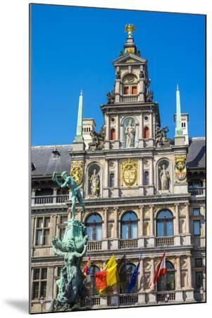 Belgium, Flanders, Antwerp (Antwerpen). Stadhuis city hall and statue of Silvius Brabo on Grote Mar-Jason Langley-Mounted Photographic Print