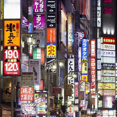 Colorful neon signs at the Kabukicho red light district, Shinjuku, Tokyo, Japan-Jan Christopher Becke-Framed Photographic Print