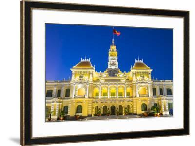 Ho Chi Minh City Hall (Ho Chi Minh City People's Committee) at night, Ho Chi Minh City (Saigon), Vi-Jason Langley-Framed Photographic Print