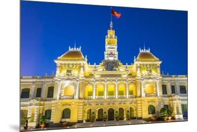 Ho Chi Minh City Hall (Ho Chi Minh City People's Committee) at night, Ho Chi Minh City (Saigon), Vi-Jason Langley-Mounted Photographic Print