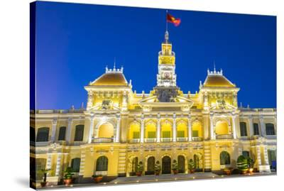 Ho Chi Minh City Hall (Ho Chi Minh City People's Committee) at night, Ho Chi Minh City (Saigon), Vi-Jason Langley-Stretched Canvas Print