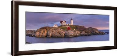 USA, Maine, York Beach, Nubble Light Lighthouse with Christmas decorations, dusk-Walter Bibikw-Framed Photographic Print