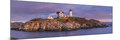 USA, Maine, York Beach, Nubble Light Lighthouse with Christmas decorations, dusk-Walter Bibikw-Mounted Photographic Print