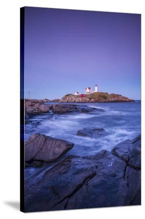 USA, Maine, York, Nubble Light Lighthouse, dusk-Walter Bibikw-Stretched Canvas Print
