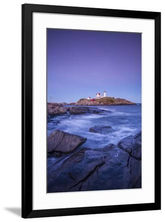 USA, Maine, York, Nubble Light Lighthouse, dusk-Walter Bibikw-Framed Photographic Print