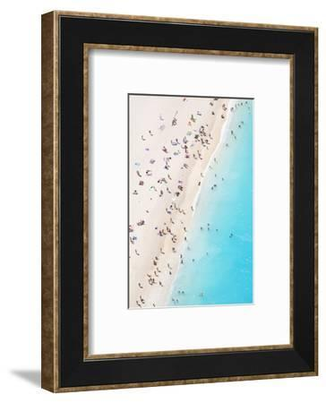 Aerial view of beach in summer with people. Zakynthos, Greek Islands, Greece-Matteo Colombo-Framed Photographic Print