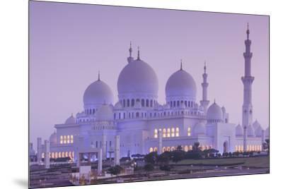 UAE, Abu Dhabi, Sheikh Zayed bin Sultan Mosque, exterior, dawn-Walter Bibikw-Mounted Photographic Print
