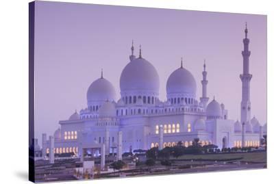 UAE, Abu Dhabi, Sheikh Zayed bin Sultan Mosque, exterior, dawn-Walter Bibikw-Stretched Canvas Print