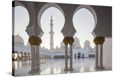 UAE, Abu Dhabi, Sheikh Zayed bin Sultan Mosque, arches-Walter Bibikw-Stretched Canvas Print