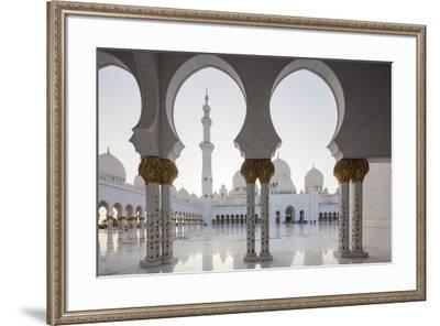 UAE, Abu Dhabi, Sheikh Zayed bin Sultan Mosque, arches-Walter Bibikw-Framed Photographic Print
