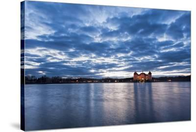 View to the illuminated castle Moritzburg, Saxony, in the early evening hours, blue hour with unusu-UtArt-Stretched Canvas Print