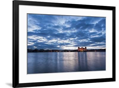 View to the illuminated castle Moritzburg, Saxony, in the early evening hours, blue hour with unusu-UtArt-Framed Photographic Print