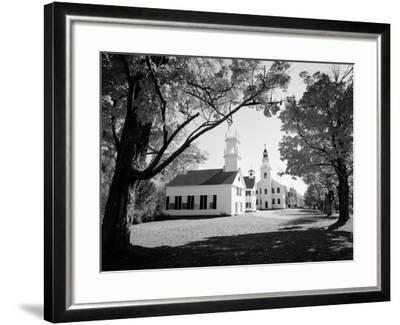 1960s Church and Local Buildings in the Town Square of Washington New Hampshire--Framed Photographic Print