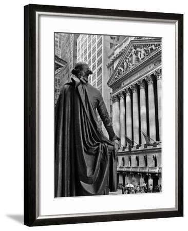 1970s New York City Stock Exchange on Wall Street from Federal Hall Behind George Washington Statue--Framed Photographic Print