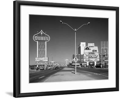 1980s Daytime the Strip with Signs for the Dunes Mgm Flamingo Las Vegas, Nevada--Framed Photographic Print