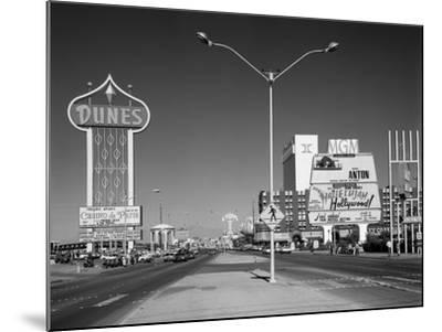 1980s Daytime the Strip with Signs for the Dunes Mgm Flamingo Las Vegas, Nevada--Mounted Photographic Print