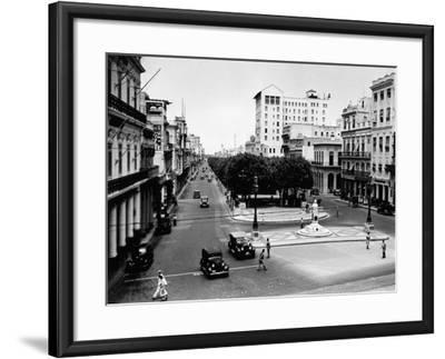 1930s-1940s Street Scene of the Prado Havana Cuba--Framed Photographic Print